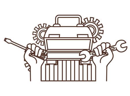 hands with construction tool box icon vector illustration design
