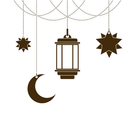ramadan kareem lantern and moon vector illustration design