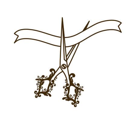 scissors with ribbon on white background vector illustration design