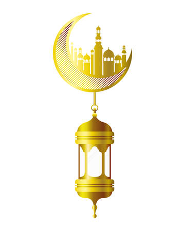 moon hanging with ramadan kareem mosque buildings vector illustration design