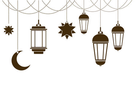 Ramadán kareem linterna icono colgante diseño ilustración vectorial