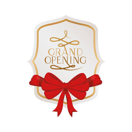 frame and ribbon with label grand opening vector illustration design