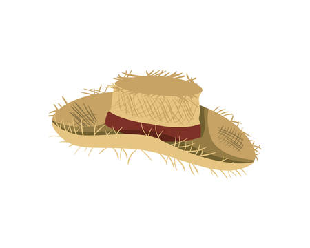 Strohhut mit Band auf weißem Hintergrundvektorillustrationsdesign