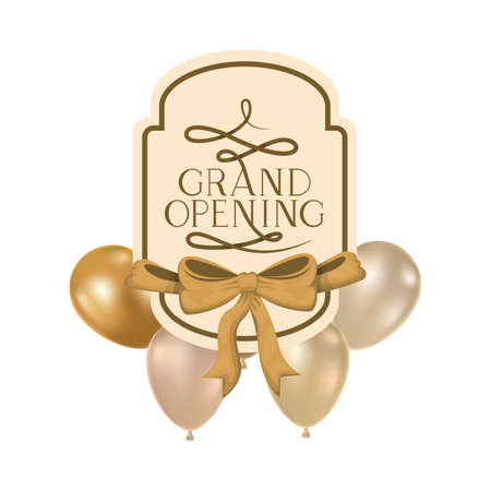 frame and helium balloons with label grand opening vector illustration design Banque d'images - 123041177