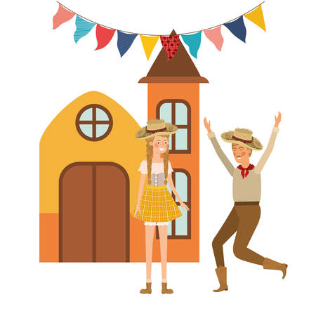 farmers couple dancing with background houses vector illustration design