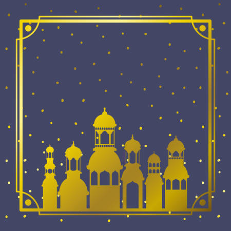 frame with golden mosque building with stars sky vector illustration design Illustration