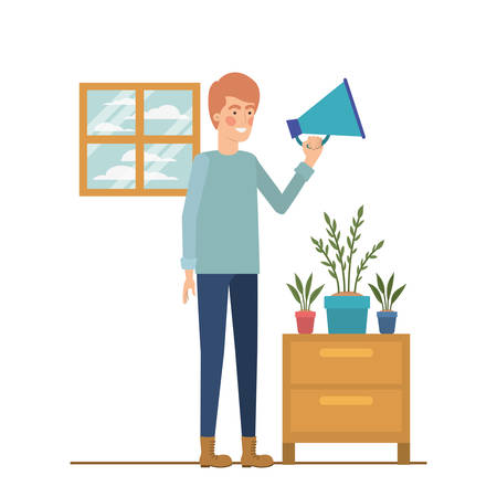 man with wooden shelving in white background icon vector illustration design