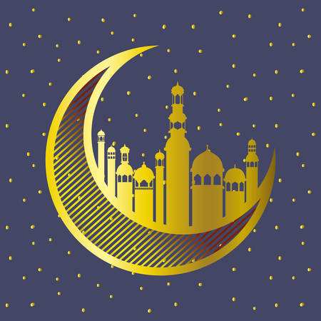 golden moon with mosque buildings vector illustration design
