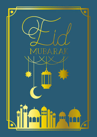 eid mubarak frame with mosque and lamps ,moon hanging vector illustration design