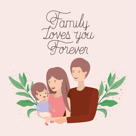 family day card with parents and daughter leafs crown vector illustration design Vecteurs