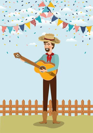 young farmer playing guitar with garlands and fence vector illustration design