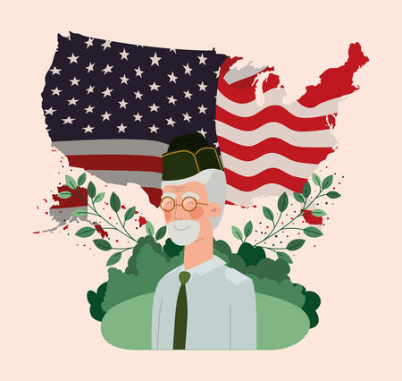 veteran military man with usa flag and map in the field vector illustration design Ilustração