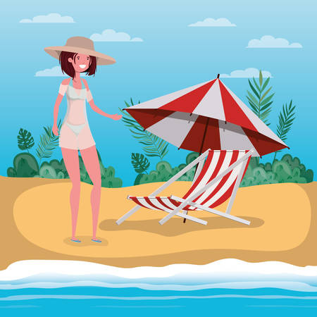 Girl with swimwear design, Bikini woman summer female beach vacation and travel theme Vector illustration