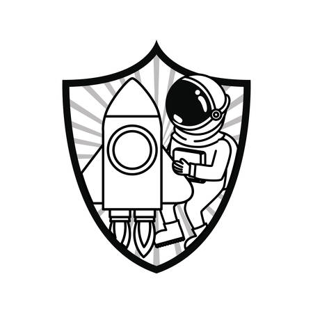 frame with astronaut and rocket in white background vector illustration design