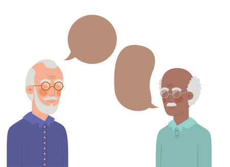 cute grandparents with speech bubble character vector illustration design