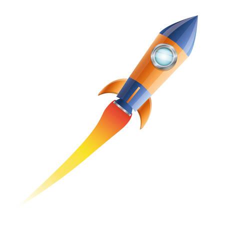 rocket flying with white background vector illustration design