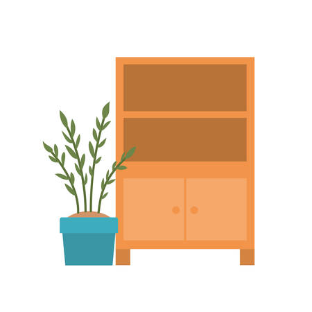 wooden shelving in white background icon vector illustration design Illusztráció