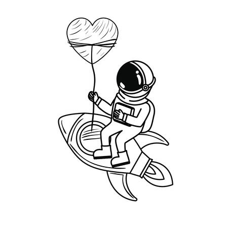 astronaut with spacesuit and rocket in white background vector illustration design