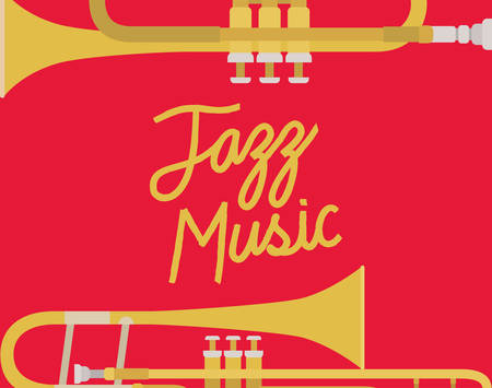 jazz day poster with trumpets vector illustration design 向量圖像
