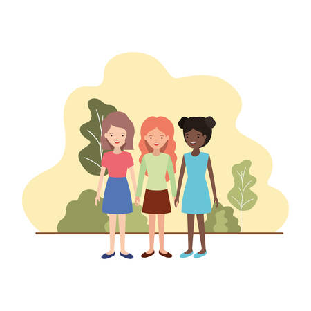 young women with landscape avatar character vector illustration design