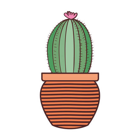 cactus with potted isolated icon vector illustration design 矢量图像
