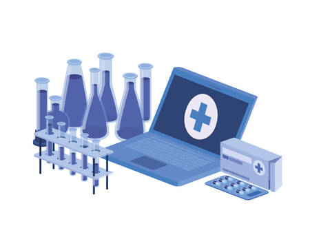 laptop and laboratory instruments isolated icon vector illustration design