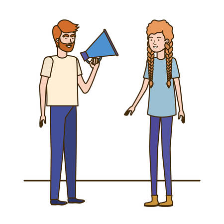 young couple in with megaphone in the hand vector illustration design Stock Vector - 124197492
