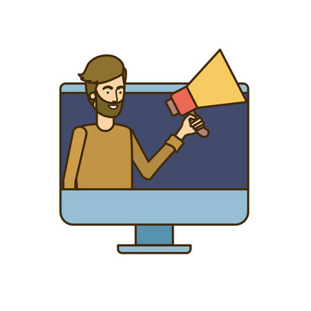 man on computer screen with white background vector illustration design