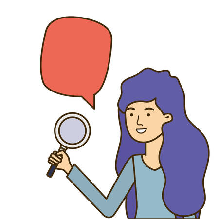 woman with magnifying glass and speech bubble vector illustration design