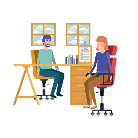 couple sitting in the work office with white background vector illustration design