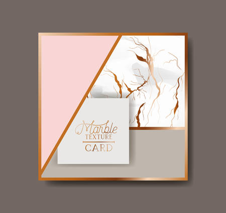 square golden frame marble texture vector illustration design