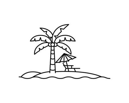palm tree with beach umbrella striped vector illustration design
