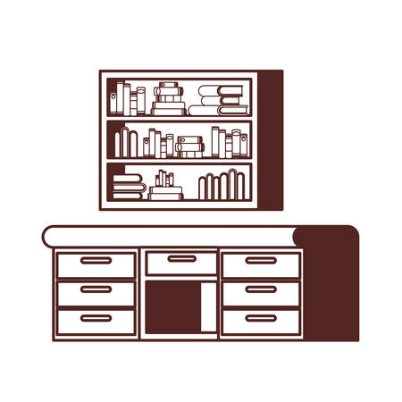 silhouette of desk and shelving with stack of books vector illustration design 向量圖像