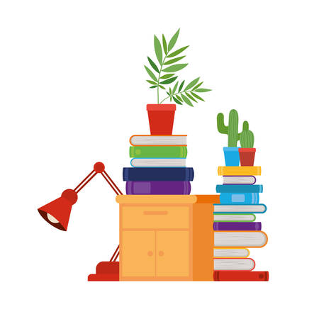 Cajón de madera con pila de libros en fondo blanco, diseño de ilustraciones vectoriales
