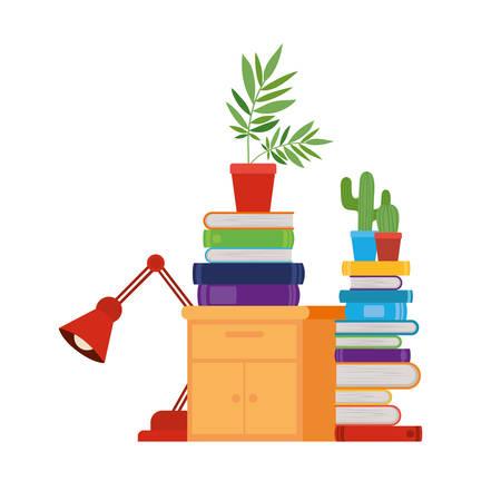 Tiroir en bois avec pile de livres en fond blanc vector illustration design