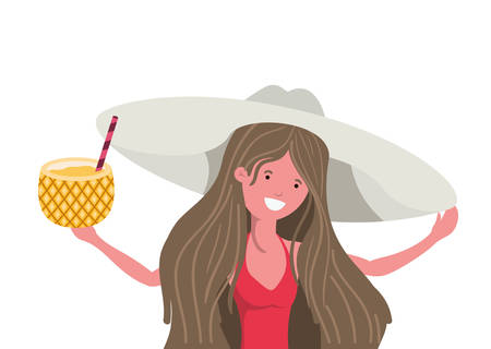 woman with swimsuit and Pineapple Cocktail in hand vector illustration design