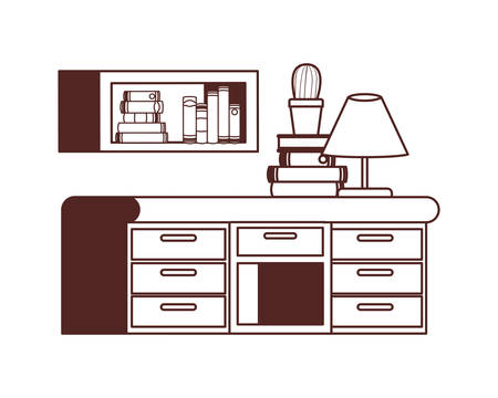 desk and shelving with stack of books on white background vector illustration design