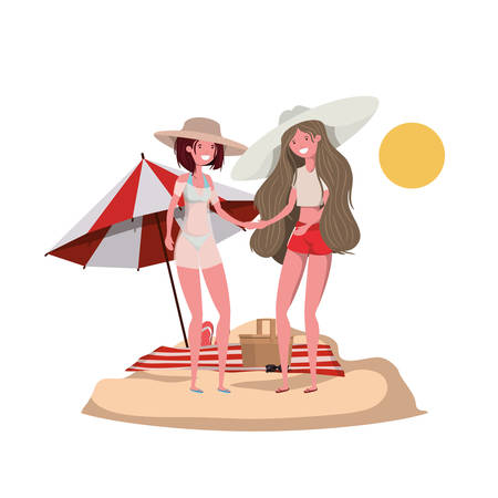 women with swimsuit on the beach and umbrella vector illustration design Vector Illustration