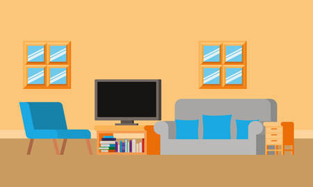 Study room design, Furniture home decoration interior design house education and apartment theme Vector illustration