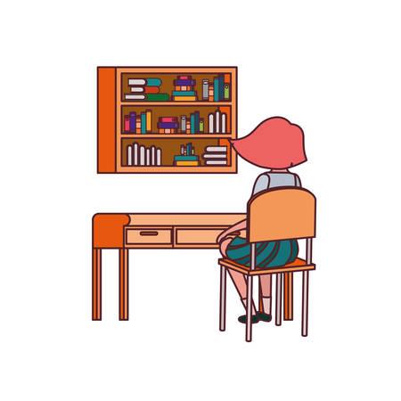 woman student sitting in school desk vector illustration design Vectores