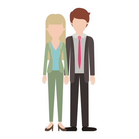 faceless couple colorful silhouette and her with blouse and jacket and pants and heel shoes with