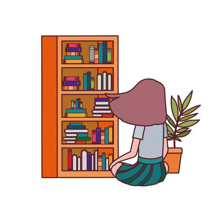 student girl sitting on his back with stack of books vector illustration design