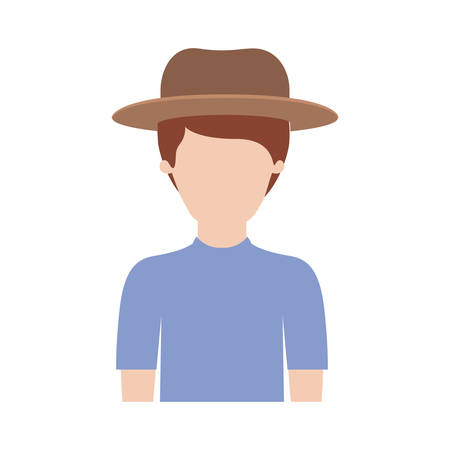 faceless man half body with hat and t-shirt with short hair in colorful silhouette vector illustration