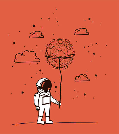Astronaut draw with asteroid design, Spaceman galaxy cosmonaut universe space science and technology theme Vector illustration