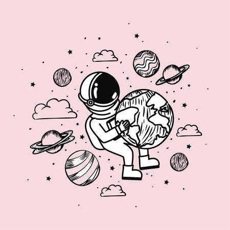 Astronaut draw with planets design, Spaceman galaxy cosmonaut universe space science and technology theme Vector illustration 矢量图像