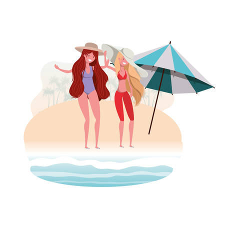 women with swimsuit on the beach and umbrella vector illustration design
