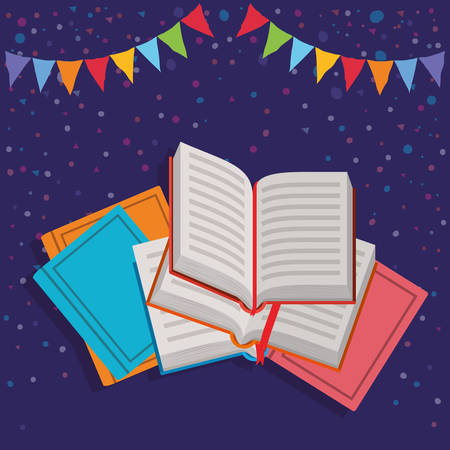Books and pennant design, Education literature read library school university and learning theme Vector illustration