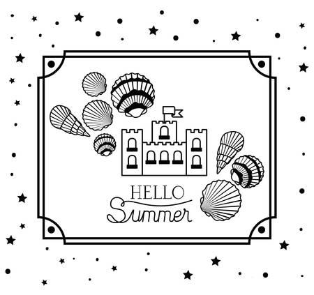 Hola diseño de verano y vacaciones, playa tropical relajación naturaleza al aire libre turismo isla y temporada tema ilustración vectorial