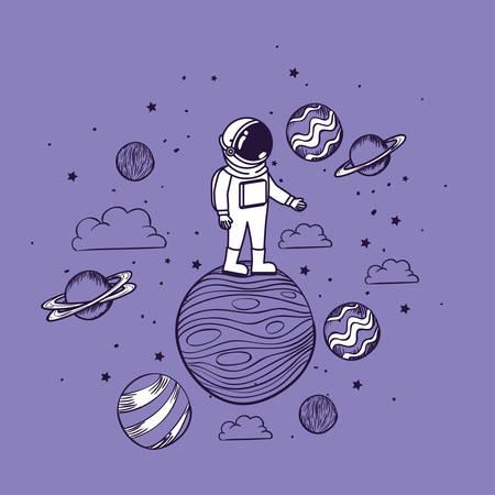 Astronauta dibujar con diseño de planetas, astronauta galaxia cosmonauta universo ciencia espacial y tecnología tema ilustración vectorial