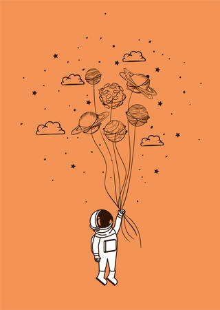 Astronaut draw with planets design, Spaceman galaxy cosmonaut universe space science and technology theme Vector illustration